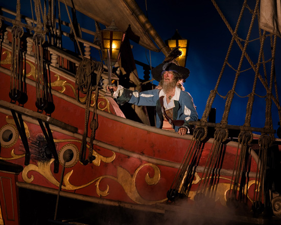 Captain Barbossa in Pirates of the Caribbean at Magic Kingdom Park