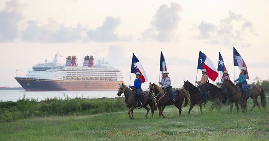 Houstons Ghostriders Greet the Disney Magic as She Sails into Galveston, Texas