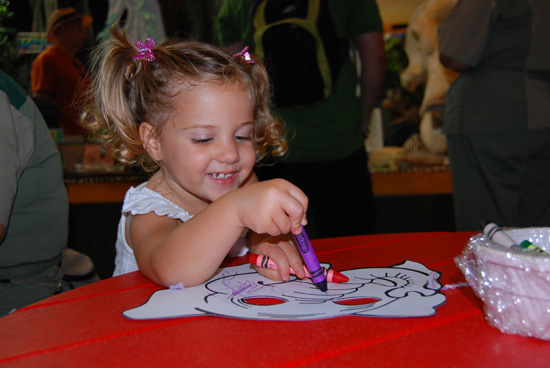 On Elephant Awareness Day, Guests Who Stop By Rafiki's Planet Watch Can Color an Elephant Mask That They Can Take Home