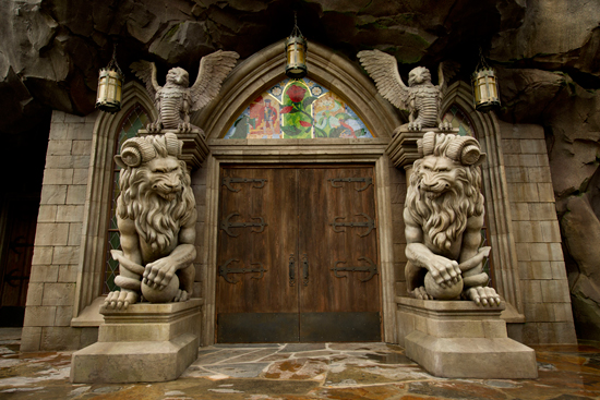 The Faces That Guard Beasts Castle in New Fantasyland at Magic Kingdom Park