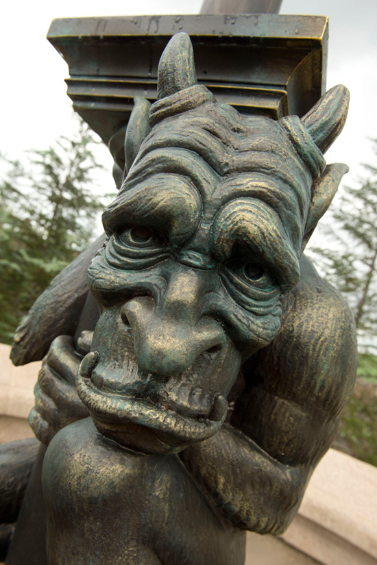 The Faces That Guard Beasts Castle in New Fantasyland at Magic Kingdom Park width=