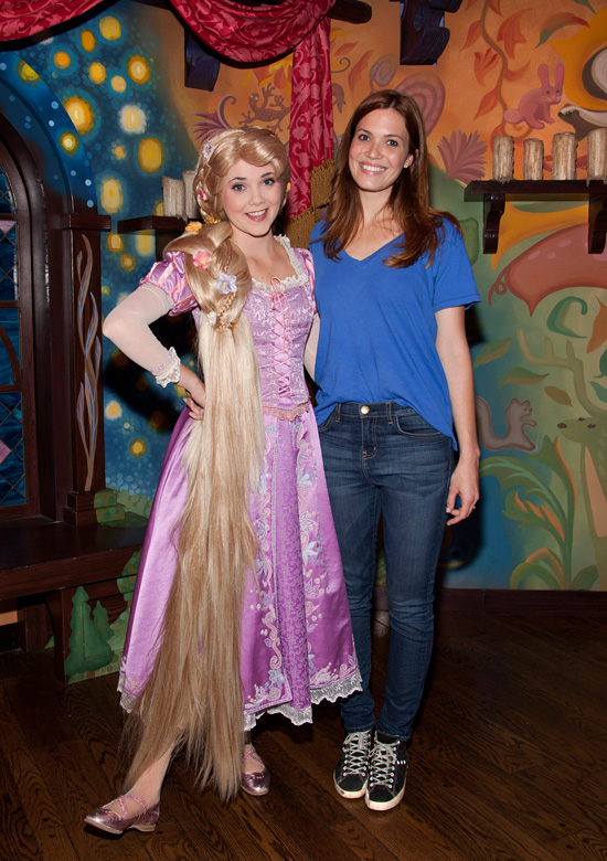 Mandy Moore Visits Rapunzel at Disneyland Park