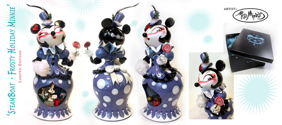 'Steamboat - Frosty Holiday Minnie' by Miss Mindy, Appearing at WonderGround Gallery in the Downtown Disney District at Disneyland Resort