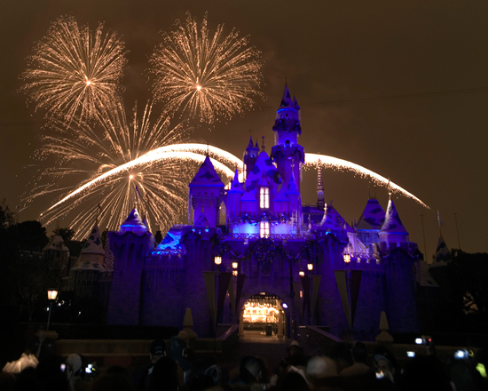'Glow with the Snow' During the 'Believe ... In Holiday Magic' Fireworks at Disneyland Park with 'Glow with the Show' Ears