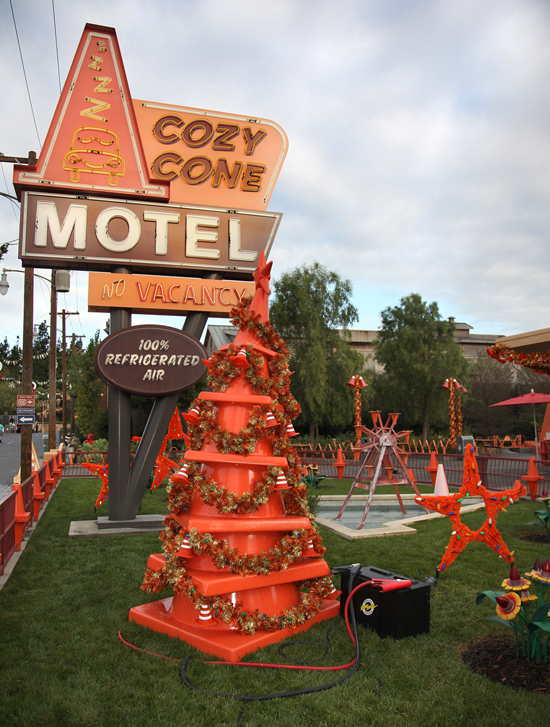 Cozy Cone Motel in Cars Land Gets Gussied Up for the Holidays at Disney California Adventure Park