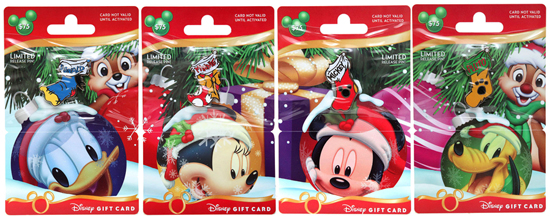 New Holiday Gift Cards Featuring Donald Duck, Minnie Mouse, Mickey Mouse, Pluto, and Chip and Dale Coming to Disney Parks