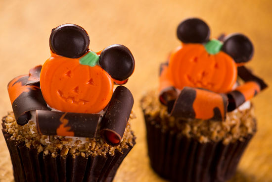 Pumpkin Cupcakes with Maple Icing Topped with Sugared Pecans and Mickey Ears, Available at Disney's Hollywood Studios