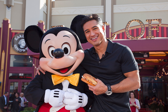 Mario Lopez and Mickey Mouse Celebrate the Opening of the First Earl of Sandwich Restaurant in California, Located in the Downtown District at the Disneyland Resort