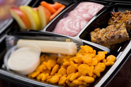 Strawberry Yogurt, Apple Wedges, Carrot Sticks, Goldfish Crackers and Organic Apple Cinnamon and Oatmeal Bar Available with Fantasmic! Seats at Disney's Hollywood Studios