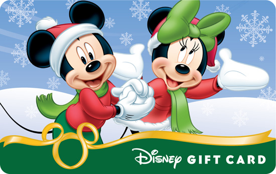 "The ""Flurry Fun"" Disney Gift Card Featuring Mickey and Minnie Having Fun in the Snow"