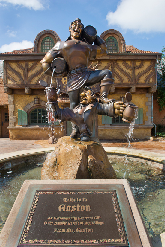 A Statue of Gaston and LeFou in Front of Gaston's Tavern in New Fantasyland at Magic Kingdom Park
