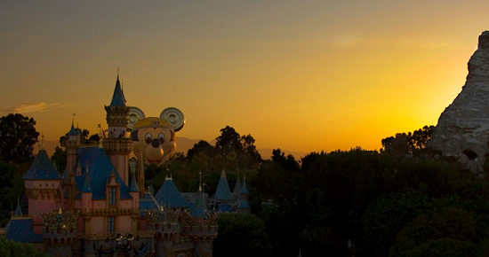 'The Happiest Balloon on Earth' Peeking Over the Disneyland Resort at Sunrise