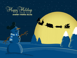 Mickey Mouse Joy Riding in Santa's Sleigh Desktop Wallpaper