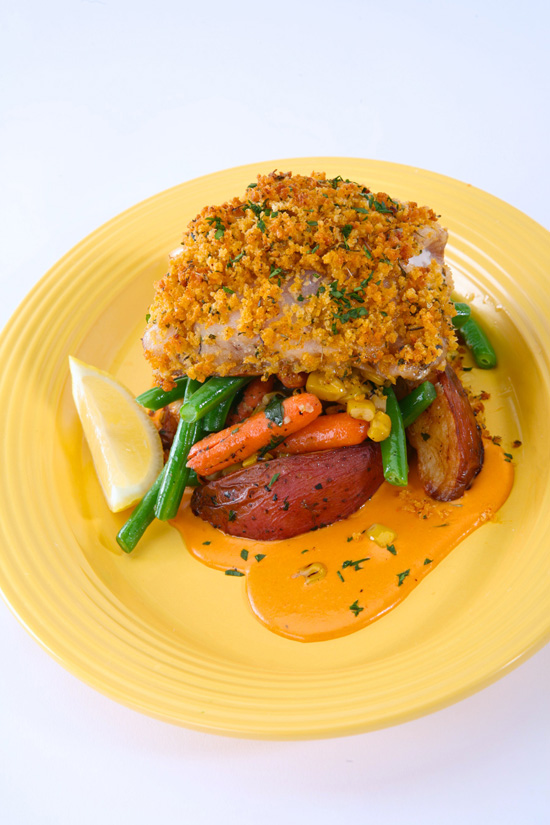 Panko-Crusted Red Snapper With Veggies, Red Bliss Potato Wedges and a Sweet Pepper Sauce at French Market Restaurant in Disneyland Park