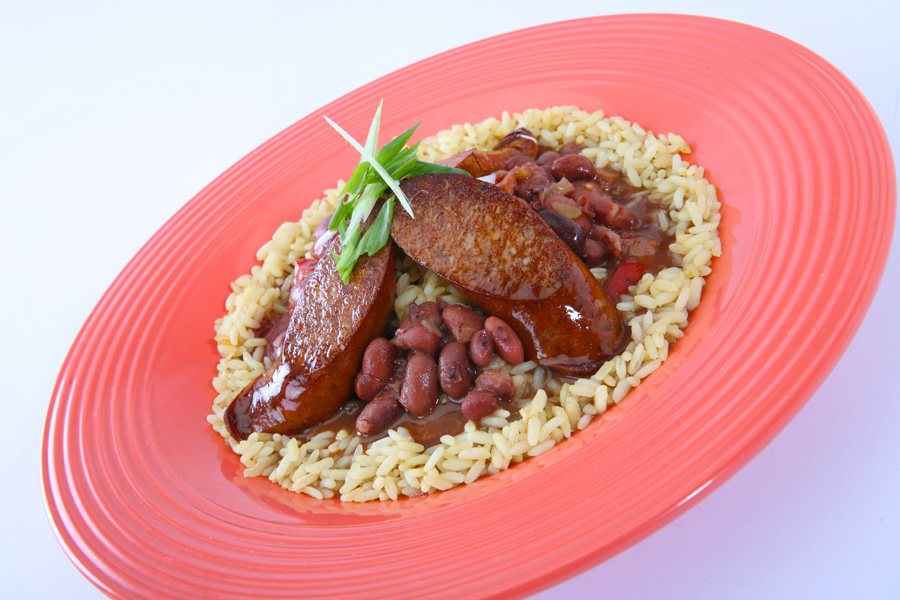... sausage and white beans rice and red beans with andouille sausage one