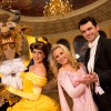 Disney characters Beast and Princess Belle pose December 5, 2012 with 'Dancing with the Stars' professional dancers Tony Dovolani (right) and Chelsie Hightower (second from right) to celebrate tomorrow's official grand opening of the new 'Be Our Guest' restaurant in the New Fantasyland area of Magic Kingdom park in Lake Buena Vista, Fla.  The newest Walt Disney World restaurant features dining areas inspired by Disney's animated film 'Beauty and the Beast,' including the castle ballroom, pictured here.