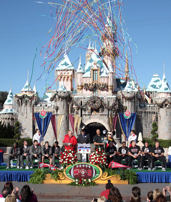 2013 Rose Bowl Teams Wisconsin Badgers and Stanford Cardinal Visit Disneyland Park