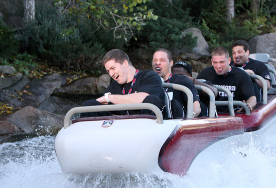 Players from the Stanford Cardinal ride the Matterhorn Bobsleds at Disneyland park