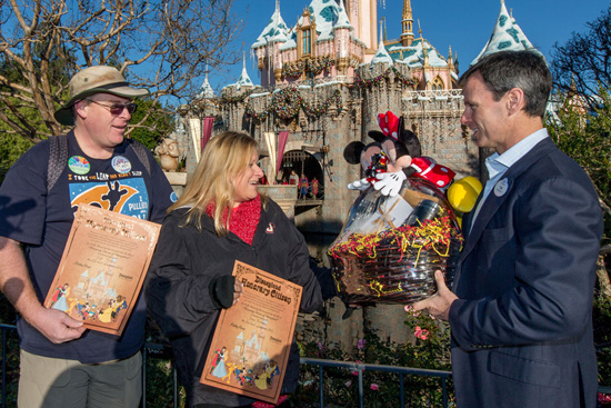 Jeff Reitz and Tonya Mickesh Receive a Night in the Disneyland Dream Suite from Walt Disney Parks and Resorts Chairman Tom Staggs in Celebration of Visiting Disneyland Resort Every Day in 2012