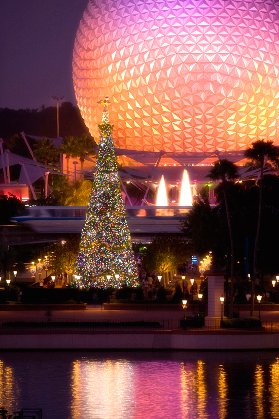 Epcot Decorated for the Holidays at Walt Disney World Resort