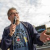 Drew Carey addresses the meet-up group at Lights, Motors, Action.