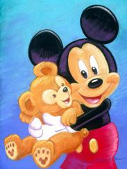 Disney Design Group Senior Character Artist Monty Maldovan Artwork Featuring Mickey and His Pal Duffy the Disney Bear
