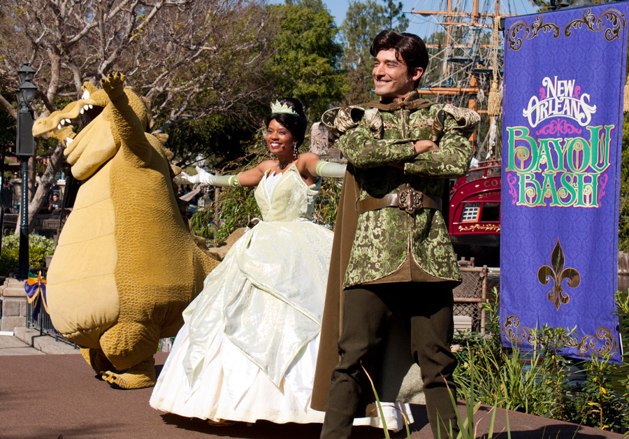 Join Princess Tiana and Prince Naveen at the New Orleans Bayou Bash at Disneyland Park