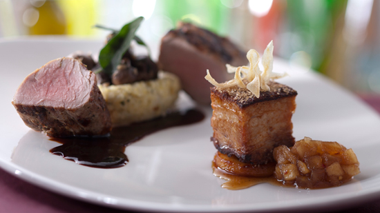 'Pork Two Ways' from the New California Grill Menu at Disney's Contemporary Resort at Walt Disney World Resort