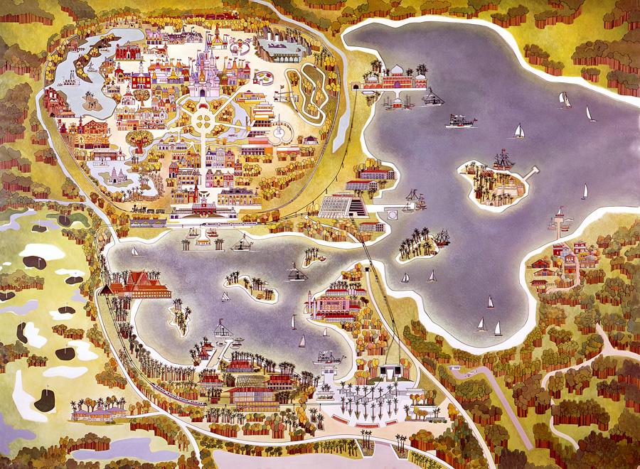Disney Parks Vintage Walt Disney World Old Maps of Walt Disney World Resort
