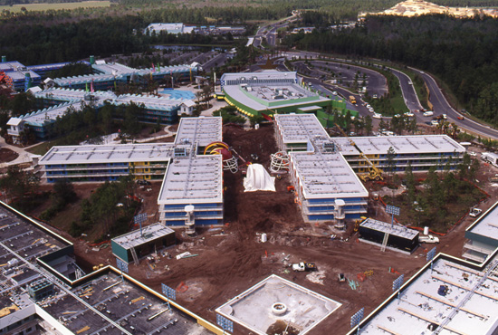 The Touchdown! Section of Disneys All-Star Sports Resort Under Construction in March 1994