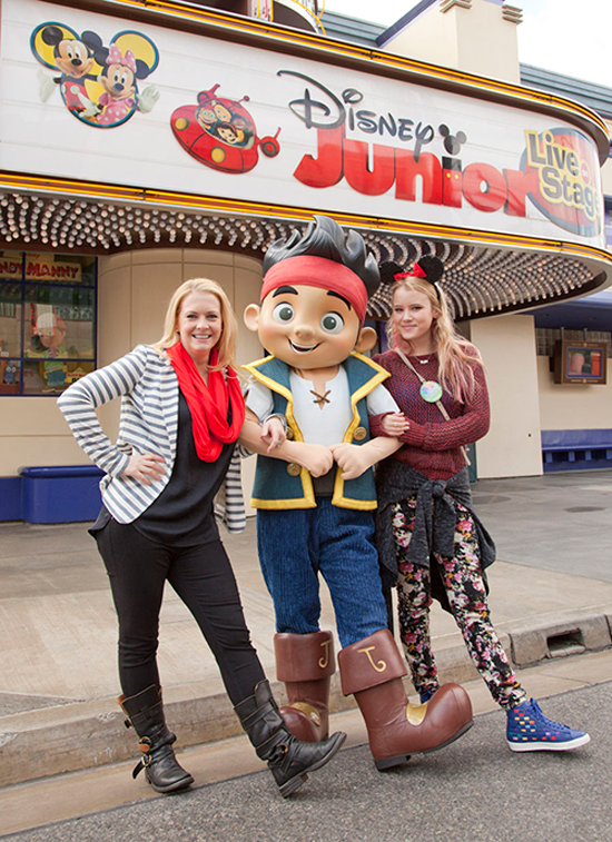 Melissa Joan Hart and Taylor Spreitler Pose with Jake at Disney California Adventure Park