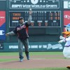 Future NFL draft Pick, and Former Georgia All-American, Jarvis Jones was one of a Number of Celebrities to Throw Out the First Pitch at Disney