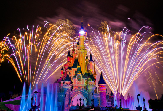 Fireworks During Disney Dreams Nighttime Show at Disneyland Paris