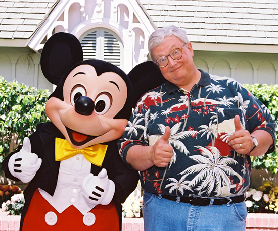 Roger Ebert and Mickey Mouse Inside Tour Gardens Next to Disneyland City Hall in the Summer of 1997