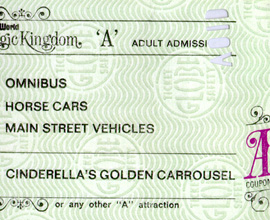 A Vintage 'A' Ticket for Attractions at Magic Kingdom Park