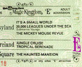 A Vintage 'E' Ticket for Attractions at Magic Kingdom Park