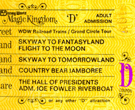 A Vintage 'D' Ticket for Attractions at Magic Kingdom Park
