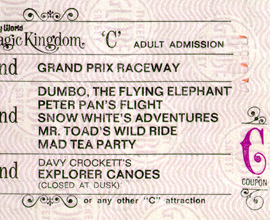 A Vintage 'C' Ticket for Attractions at Magic Kingdom Park