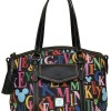 The New Dooney & Bourke Mickey Rainbow Letter Collection Includes a Large Pocket Tote ($295), Satchel ($195), Pocket Satchel ($260), and Tablet Sleeve ($90)