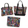 The New Dooney &amp; Bourke Mickey Rainbow Letter Collection Includes a Large Pocket Tote ($295), Satchel ($195), Pocket Satchel ($260), and Tablet Sleeve ($90)
