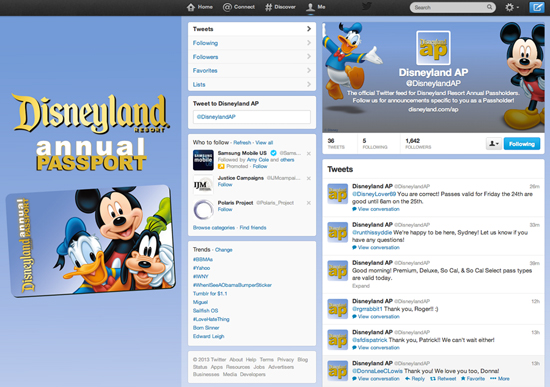 New Twitter Service: @DisneylandAP, Joins Lineup of Benefits for Disneyland Annual Passholders