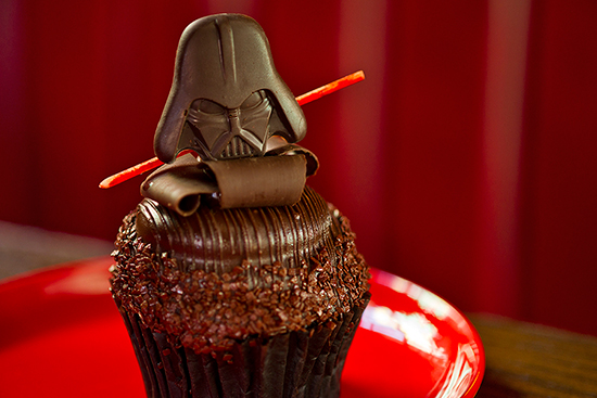 Darth Vader Cupcake with Chocolate-Peanut Butter Filling and Chocolate Frosting