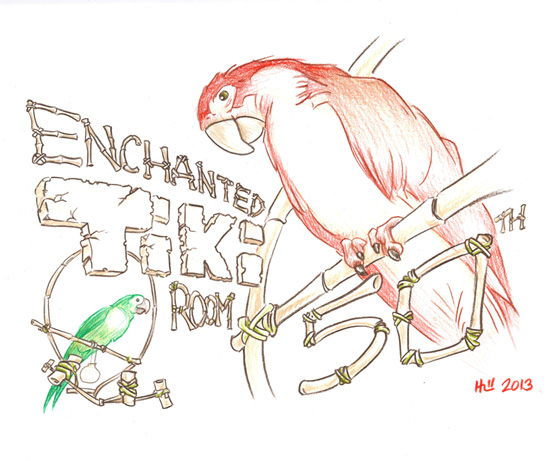 Walt Disney's Enchanted Tiki Room Sketch by Kevin Hill, Part of the Park Icon Artist Sketch Collection at The Disney Gallery