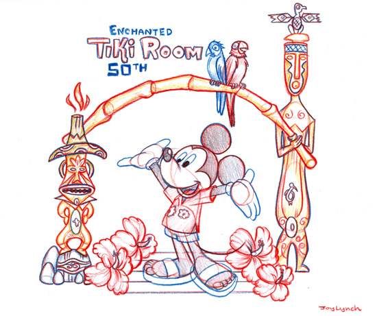 Walt Disney's Enchanted Tiki Room Sketch by Joy Lynch, Part of the Park Icon Artist Sketch Collection at The Disney Gallery