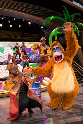 King Louie on the Fantasyland Theatre Stage with the Mapmakers for 'Mickey and the Magical Map' at Disneyland Park