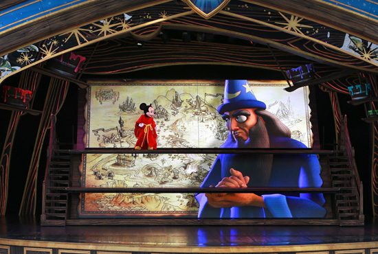 Mickey Mouse and Yen Sid on the Fantasyland Theatre Stage for 'Mickey and the Magical Map' at Disneyland Park