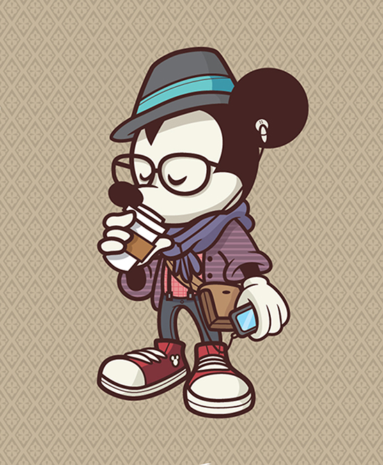 Hipster Mickey at WonderGround Gallery in the Downtown Disney District at Disneyland Resort