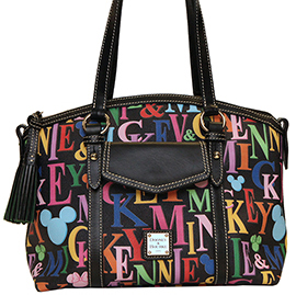 The New Dooney &#038; Bourke Mickey Rainbow Letter Collection Includes a Large Pocket Tote ($295), Satchel ($195), Pocket Satchel ($260), and Tablet Sleeve ($90)