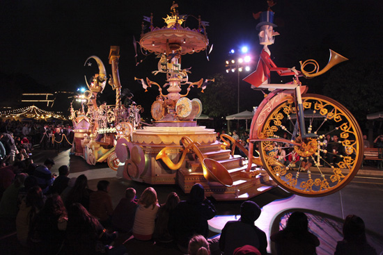 The Mary Poppins Float Rolls Down Main Street, U.S.A., in a Special Nighttime Run of Mickey's Soundsational Parade at Disneyland Park