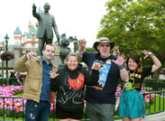 Jeff and Tonya, Who Have Visited the Disneyland Resort Every Day Since January 1, 2012, Join Their Friends (Along with Walt Disney and Mickey Mouse) in Front of Sleeping Beauty Castle.<br />